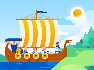 Drakkar drakkar boat people illustration flat