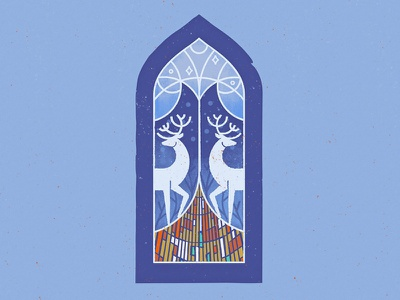 Christmas is coming! stained glass card print stroke owl deer window christmas