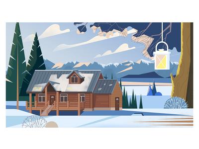 Fresh air lantern landscape winter house flat digital vector illustration
