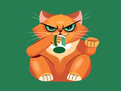Slurping Cat slurp evil illustration character stolz coffee maneki neko cat maneki petrick