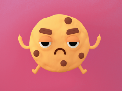 Angry Cookie character blender 3d cookie