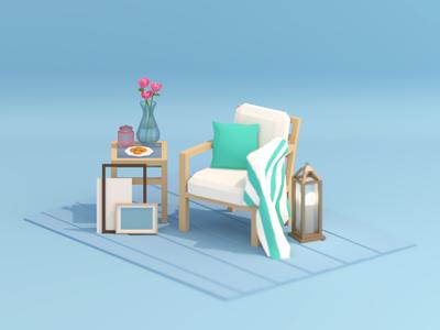 Simple things lantern cookies low poly carpet blender flowers chair