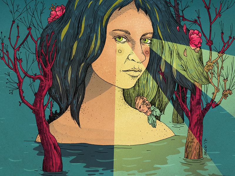 Cherry Blossom Island digital media mixmedia traditional linework dream portrait woman