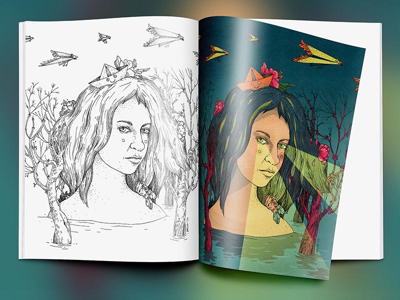 Cherry Blossom Island Mock digital media mixmedia traditional linework dream portrait woman