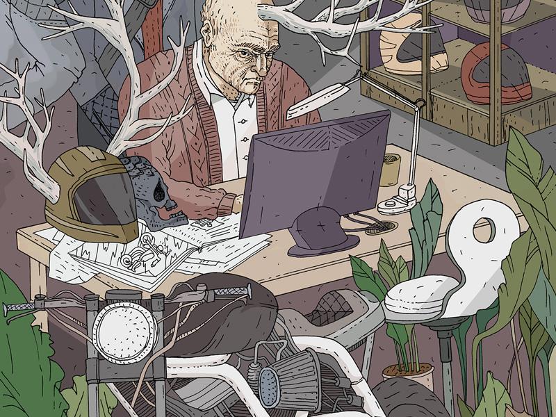 Mysterious Bike Shop / color digital illustration comic book germany black forest illustration ink