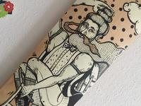 Custom painted Skateboard - Biker