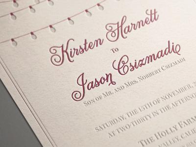 Wedding Invitation invitation wedding letterpress