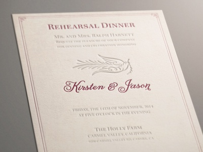 rehearsal Dinner invitation wedding letterpress