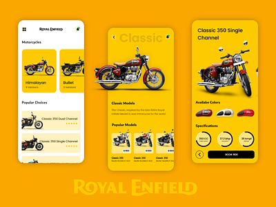 Royal Enfield Store Mobile Exploration uiux mobile app ux mobileui ui design mobile ui motorbike motorcycle bike graphic design adobe xd mobile app ux booking app mobile app ui clean design app ios mobile ui