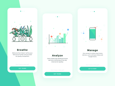 Clairy Onboarding visual design onboarding smartphone app mobile clean air quality illustration ui design app