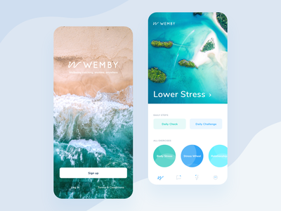 Wemby Mobile Presentation mobile app design app healthy sign up interface design interaction design ui ux logo icons wellness remote relationships stress health app health wellbeing