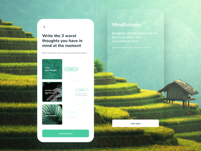 Free your mind Mobile b2b health app health care wellbeing product design user interface design second thought research mind mindfulness thoughts
