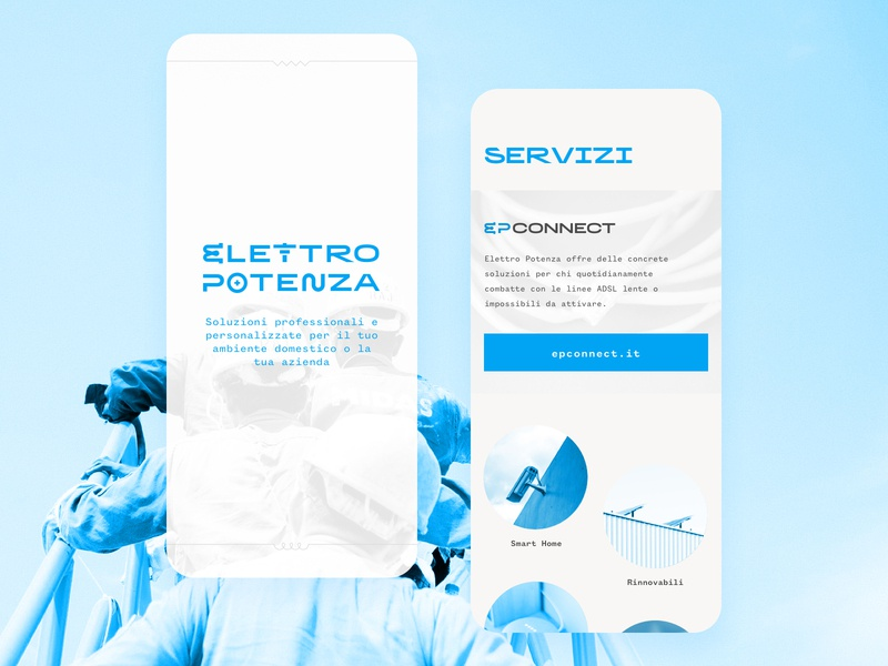 Elettropotenza Mobile mobile ui potenza electronics wireless connection azienda business responsive web design landing page mobile design fiber wifi connections wires cables blue startup graphic system electrical electro