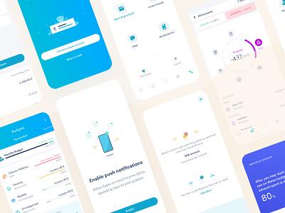 Zuper App smartphone app finance app bank digitalbank budgeting finance visual mobile illustration graphic app ux design startup ui interface