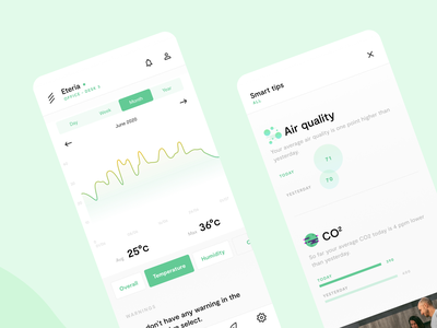 Vitesy Hub App Redesign temperature office quality air graphic ux app redesign air purifier vitesy startup ui interface