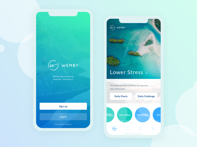Wemby App mobile app design ux illustration experience user smartphone interface ui logo branding visual product graphic application wemby wellbeing wellness startup app design