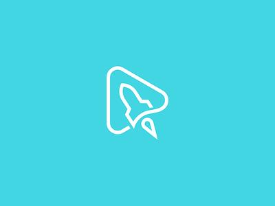 Play rocket story agency production space advertising videos video play launch rocket smart symbol minimal mark minimalist brand logo