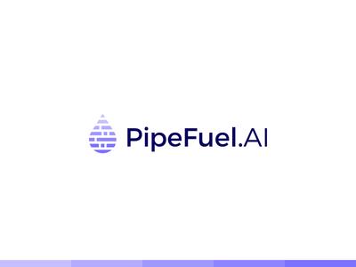 Pipe Fuel branding agility accuracy fueling ai datas data drop fuel design logotype smart minimal symbol mark minimalist brand logo