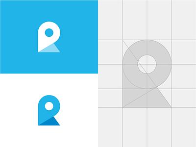 R pin local locate finder place map pin r branding letter logotype lettermark monogram minimal symbol mark minimalist brand logo
