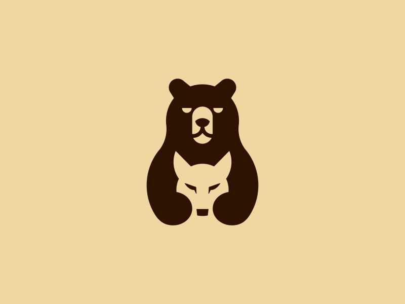 Team Bearwolves negative space game teamwork team wolves wolf grizzly bear branding design animal smart symbol minimal mark minimalist brand logo