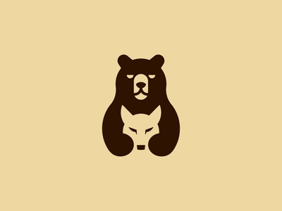 Team Bearwolves negative space game teamwork team wolves wolf grizzly bear branding design animal smart symbol minimal mark minimalist brand logo