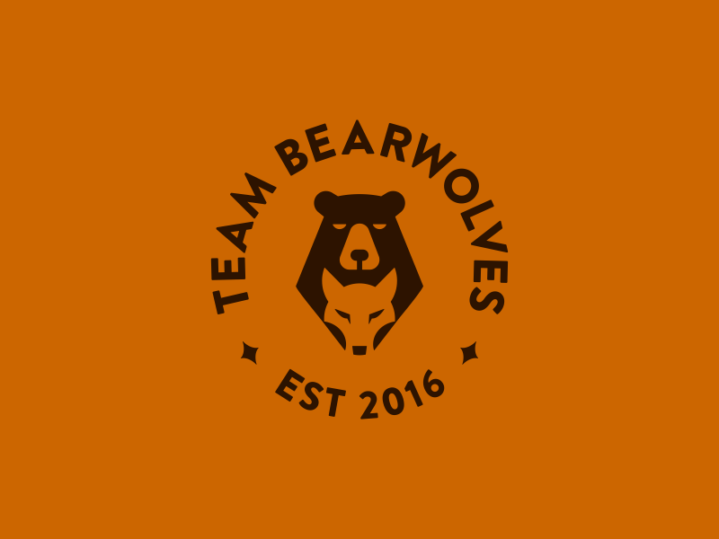 Team Bearwolves teamwork magic symbols team negative space grizzly game wolves wolf bear design animal smart symbol minimal mark minimalist brand logo