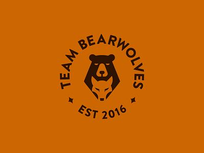 Team Bearwolves teamwork magic symbols team negative space grizzly game wolves wolf bear design animal smart symbol minimal mark minimalist brand logo
