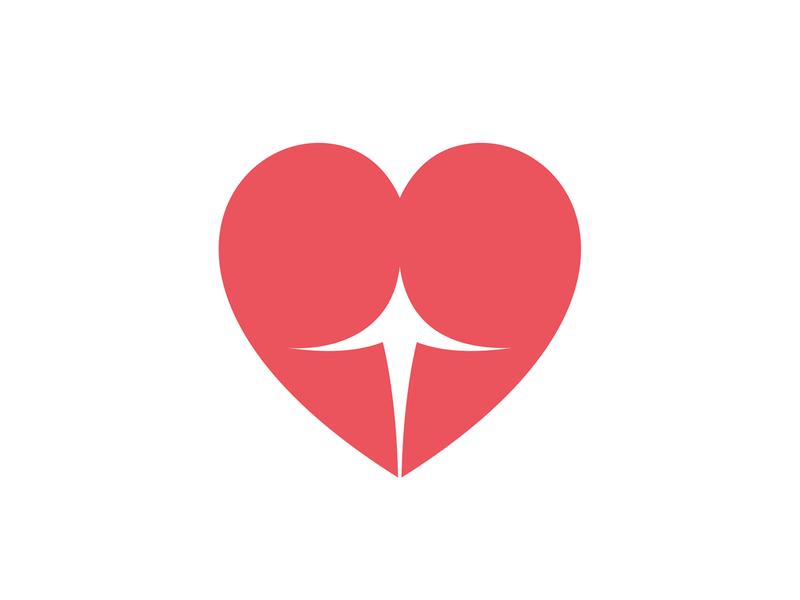 'Cheeky' Heart Symbol valentine day sexy negative space heart identity brand branding logo