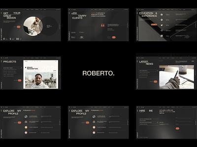 Roberto - CV/Resume Website dark web design website animation graphic design minimalism modern portfolio personal creative resume vc vcard cv