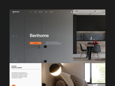 Benhome - Interior Website Theme modern design creative branding minimal minimalism website web design corporate business real estate house home architecture interior design interior