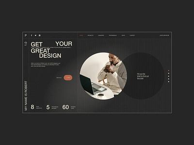 Roberto - CV/Resume Website design minimalism creative modern black fullpage onepage dark portfolio virtual card resume vcard cv personal web web design website animation ux