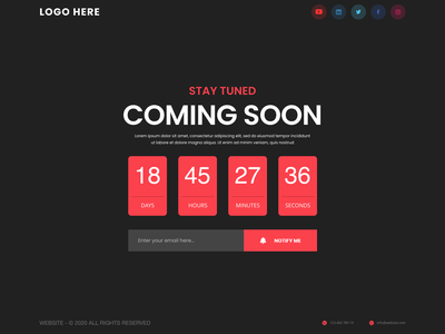 Coming Soon Page IU design ux user interface coming soon page