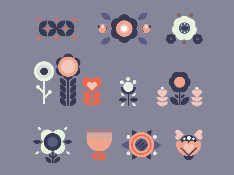 Geometric Flowers Freebie tut illustration vector ai flowers freebie geometric