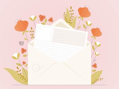 MAIL creative flatdesign flat art design art illustration design artist mail graphic design artwork vector invitation illustration flowers letter