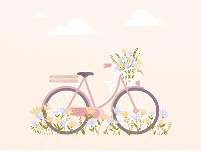 SUMMER DAY flatillustration cuteillustration dribbble 2d illustration graphic design artwork summer bicycle flowers