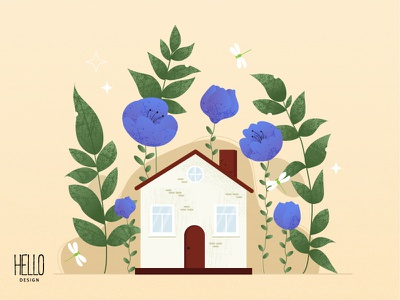 HOME dribble flat hello house art illustration design artist art illustration design creative graphic design flowers artwork atr