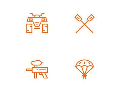Extreme sports iscons vector moson minimalism line illustration icon extreme