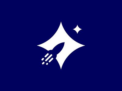 Rocket minimalism icon logo vector illustration nagativespace sky rocket