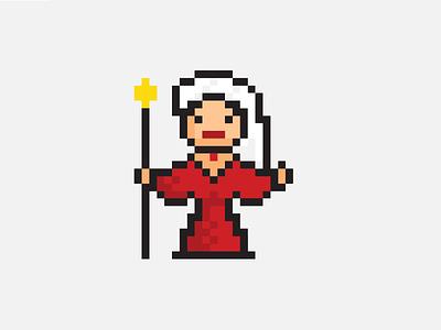 Sorceress sorceress illustrator pixel icon vector illustration pixelart