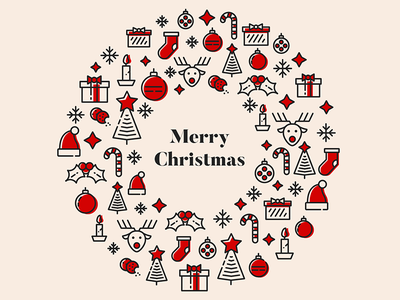 Merry Christmas christmastree reindeer gift winter pattern vector icon christmas