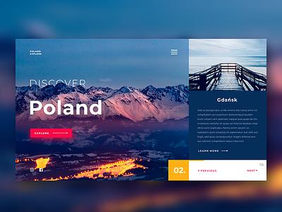 Discover Poland website explore webpage poland flat web app typography design ux ui