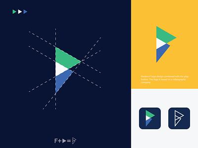 Modern F+play button logo modern flat monogram mark symbol logotype logo illustration identity icon design branding