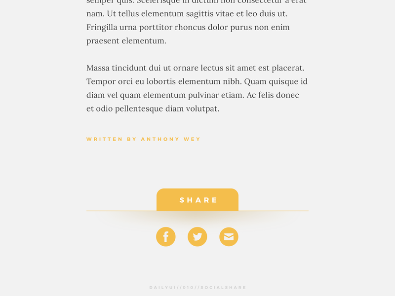 Daily UI // 010 // Social Share simple article website blog social share web ui ux design daily ui 010 daily ui