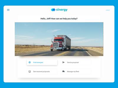 Sinergy logistics truck home screen