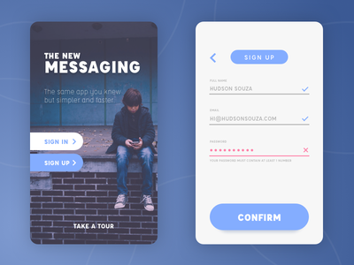 Daily UI challenge #001 — Sign Up daily ui challenge dailyui messaging app sign in sign up signup