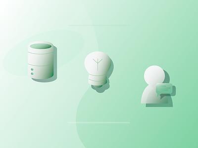 MongoDB Account Illustrations tech drawing icon design shadow illustrations conversation user database cluster lightbulb green vector sketch graphic design branding design illustration icon illustrator
