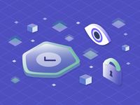 Security Authentication Illustration authentication cube database branding logodesign gradient purple gradient purple grid isometric illustrator graphicdesign graphic illustration lock eye shield security
