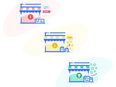 Wish Merchant Shop Status Illustrations green yellow red adobe illustrator graphic design design packages charts sales adobe sketch illustrator merch design vector illustration shopping status ecommerce merchant wish