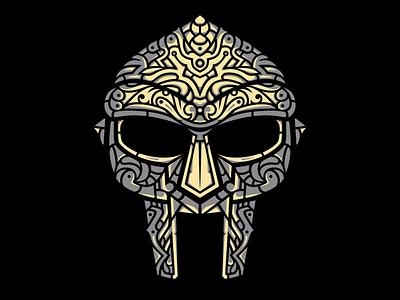 Venomous Villain Stone Colorway illustration design hand-drawn vector gladiator mask mfdoom doom villain rap hip-hop