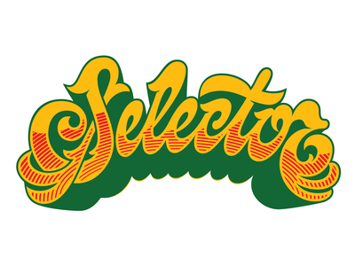 Selector 2021 Logo tricolor pan-african jamaica music dancehall dub reggae type typography vector hand-drawn design lettering